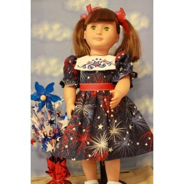Red, White & Blue Square Collar Dress