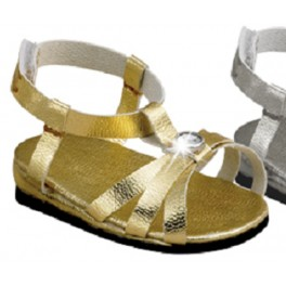 Gold Strappy Sandal with Rhinestone